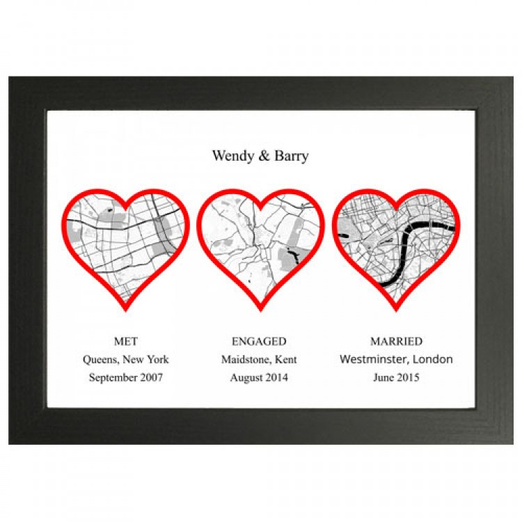 Personalised Map 3 Heart
