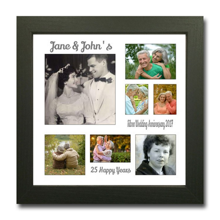silver wedding photo collage anniversary