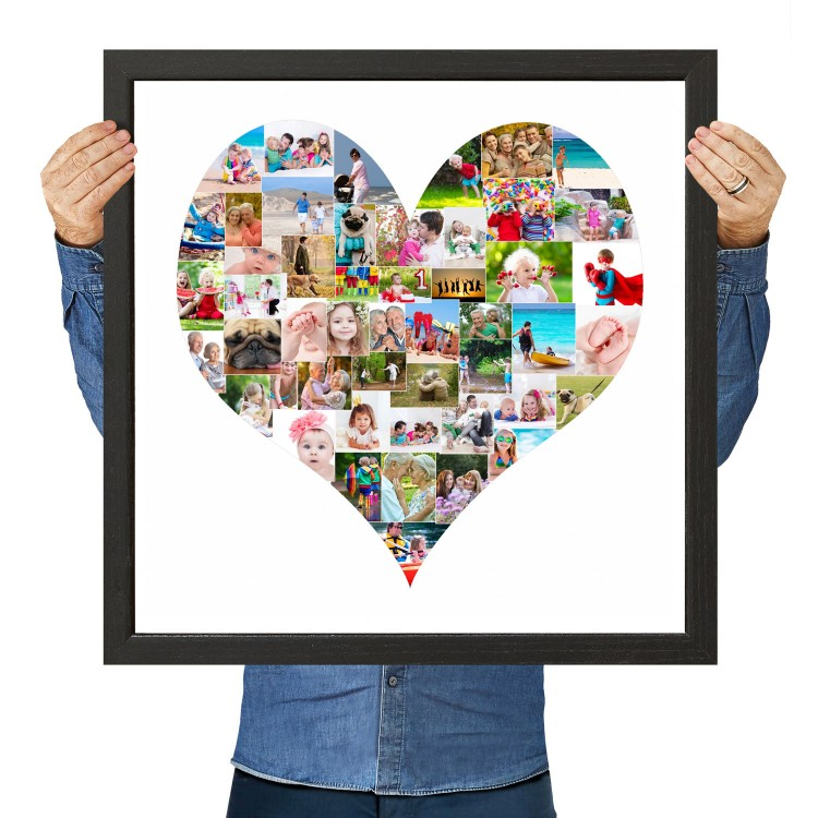 Personalised Large Photo Collage Heart